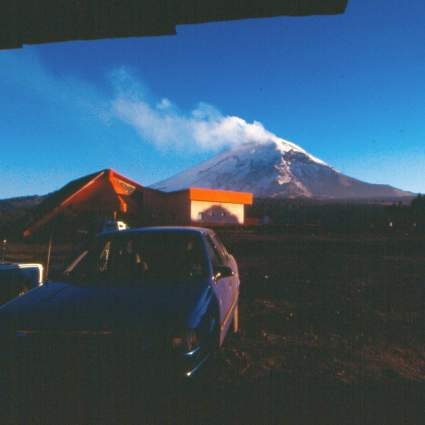 The view from the mushroom shack. A view of Popocatépetl from the mushroom shack.