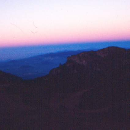 Sunrise during our hike. We climbed Iztaccíhuatl to about 15,500 feet before Terry got elevation sickness.