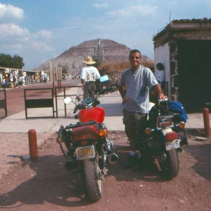 About to leave Teotihuacan. Had to get a shot of the bikes and the pyramid before we left.
