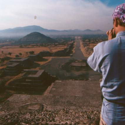 Terry on top of the Pyramid of the Moon. Teotihuacan