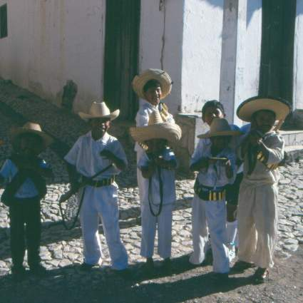An armed welcome to Cuauhtémoc. These kids chased us through the streets and would pretend to shoot at Terry and I.